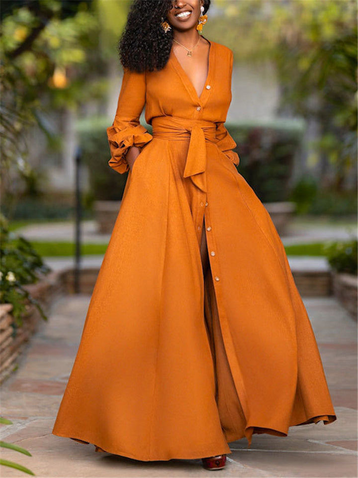 Pretty Low V Neck Fitted Waist Thigh High Slit Maxi Dress