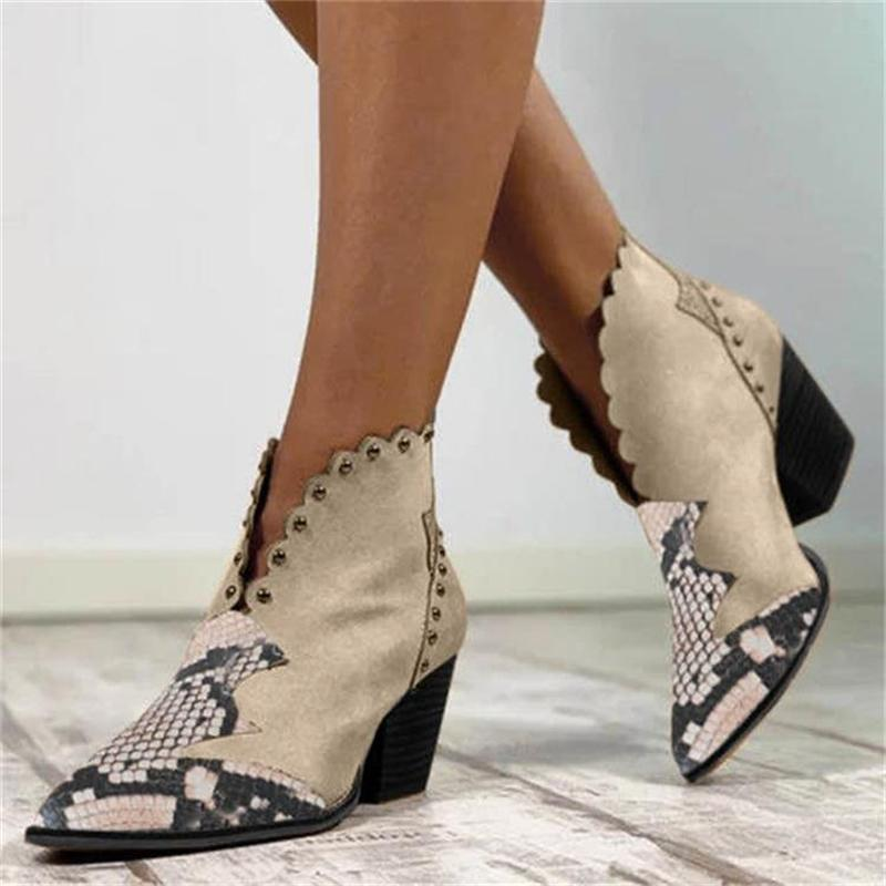 Women's Rivet Pointed Toe Chunky Heels Patchwork Ankle Boots