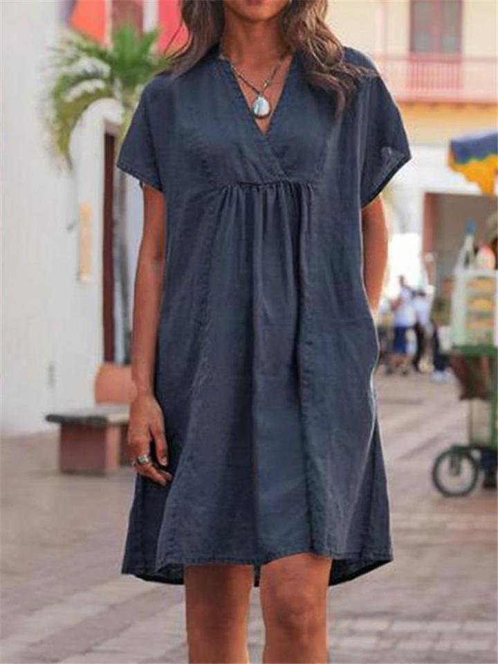 Comfy Wrap V Neck Solid Loose Midi Dress