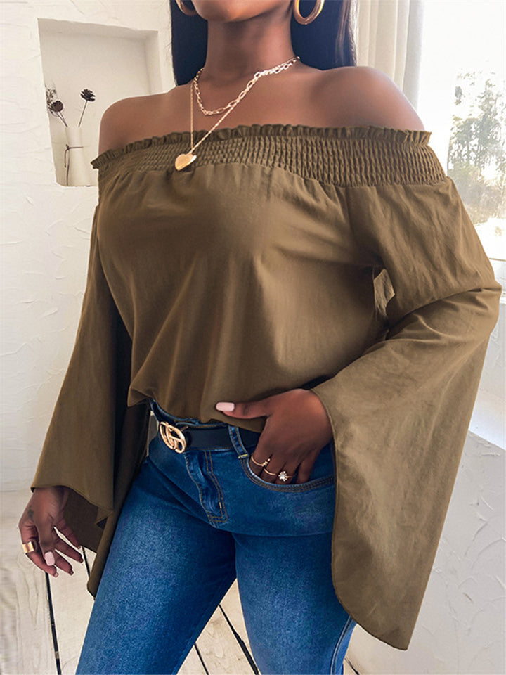 Fashionable Off Shoulder Flare Sleeve Solid Color Pullover Cropped Tops