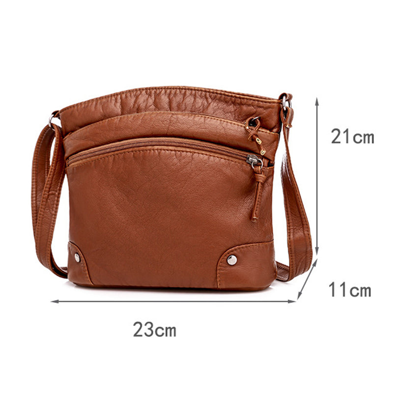 Premium Quality Adjustable Strap Soft Zipper Leather Crossbody Bag