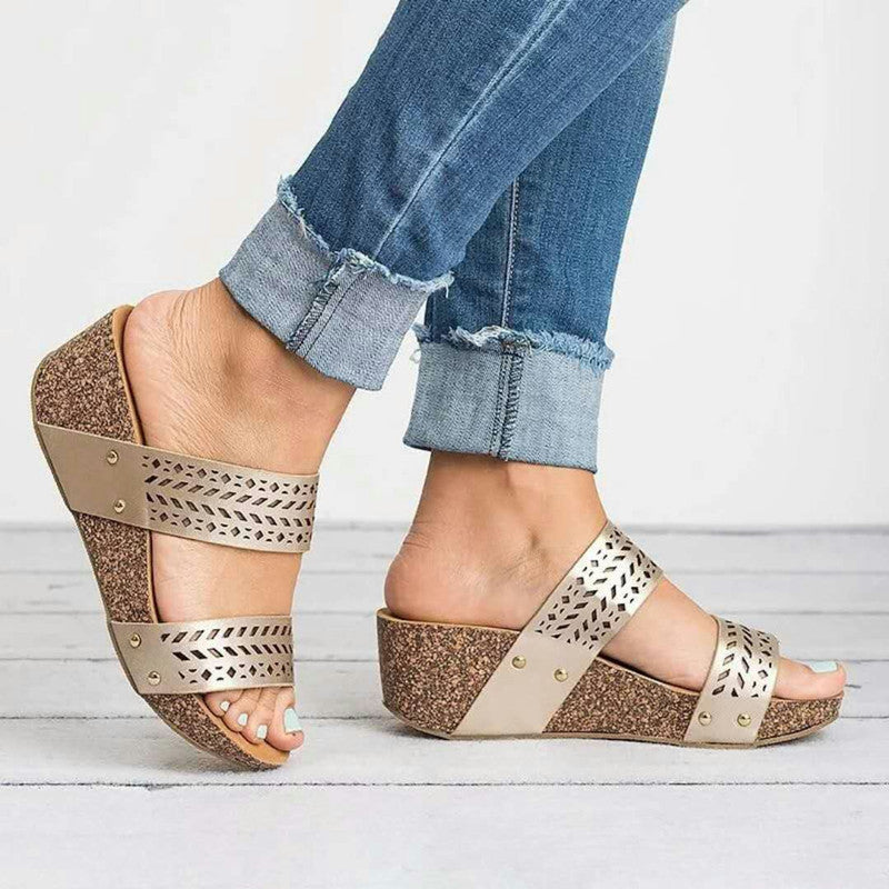Fashion Hollow Cut Wedge Sandals Slippers