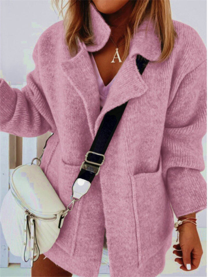 Casual Fit Stretchy Open Front Lapel Collar Pocket Sweater Coat