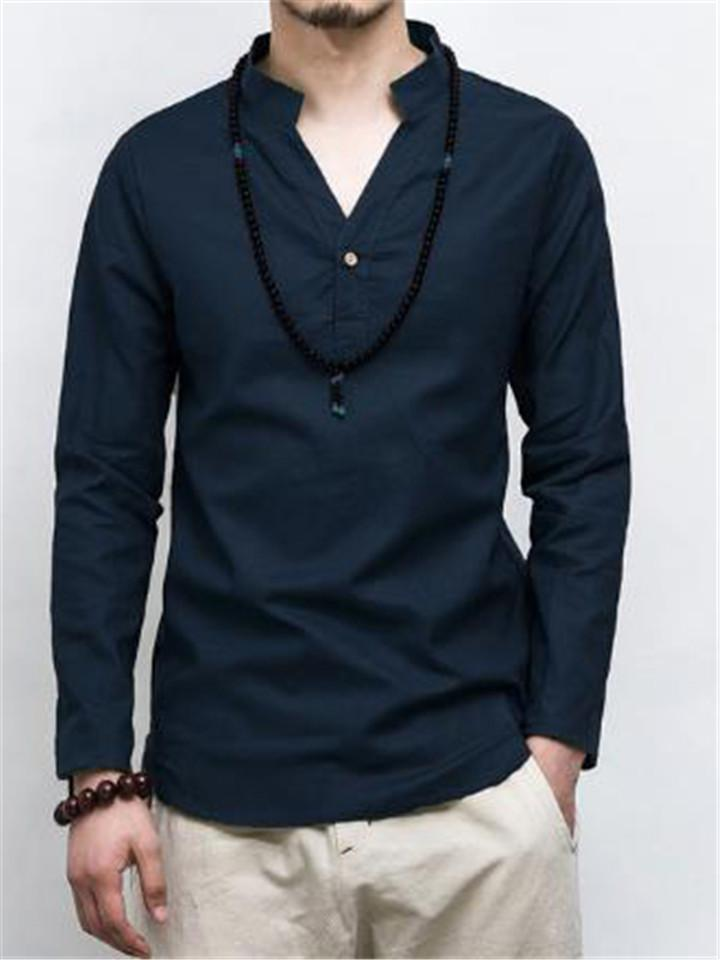 Cotton Linen Vintage Style Summer Long Sleeve Casual Shirts