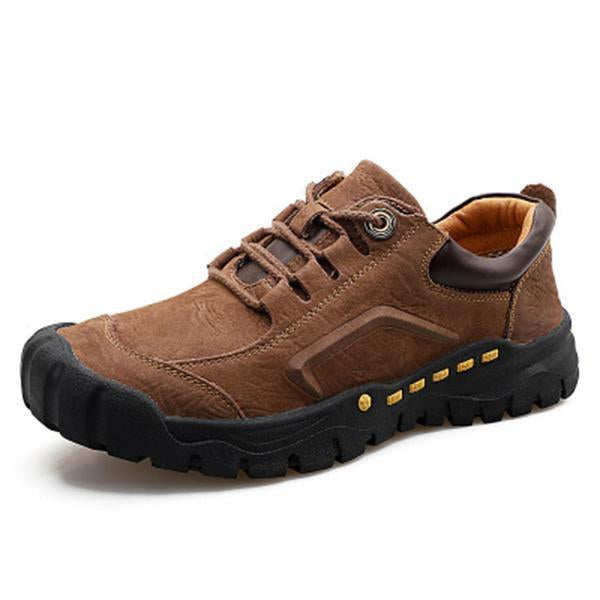 Men Casual Genuine Leather Low Cut Waterproof Outdoor Hiking Shoes