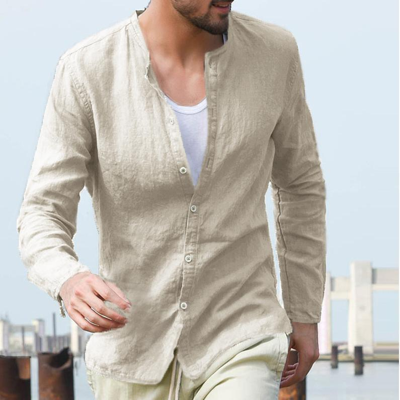 Men Casual Mens Cotton/Linen Shirt