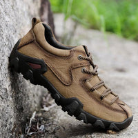 Men Casual Outdoor Genuine Leather Soft Bottom Hiking  Shoes