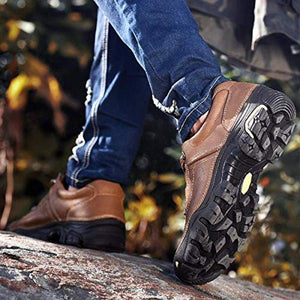Men Casual Outdoor Non-slip Genuine Leather Platform Hiking Shoes