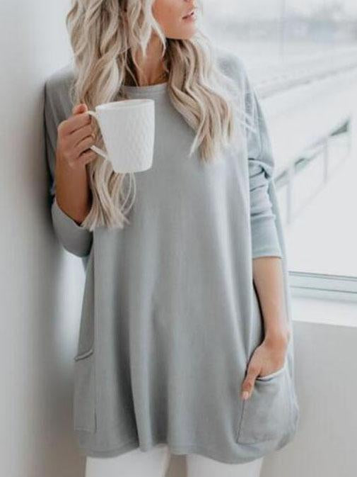 Casual Pockets Long Sleeve Solid Tops
