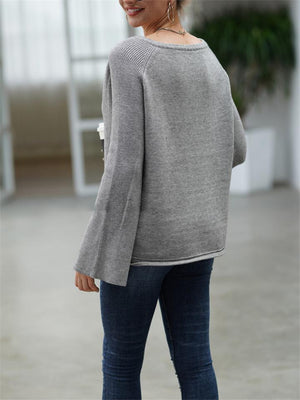 Comfy Notched Neck Bell Sleeve Solid Sweater for Autumn