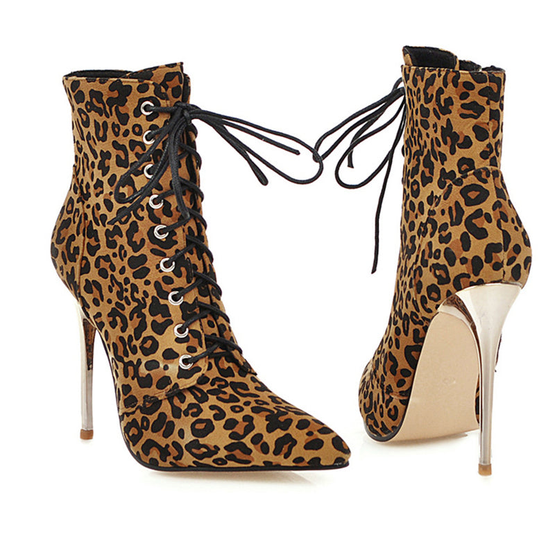 Stylish Pointed-Toe Lace-Up Side Zipper Leopard High-Heel Boots