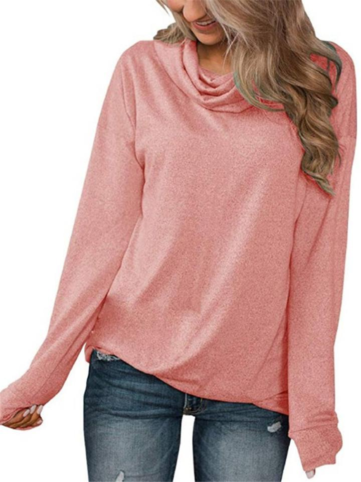 Womens Casual Solid Color Heap Collar Long Sleeve Shirt