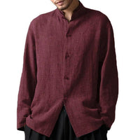 Men Chinese Style Stand Collar Casual Loose Shirt