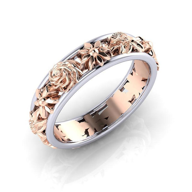 Sweet Rose Gold Flower Bicolor Women's Finger Ring