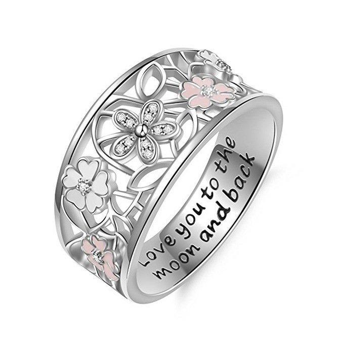Pink Flower Glamour Letter Engraved Finger Ring