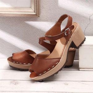 Buckle Strap Chunky Heel Sandals