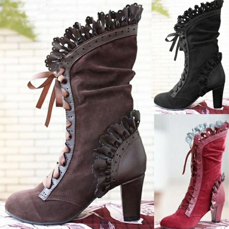 Ruffles Lace Up High Heels Mid-Calf Boots