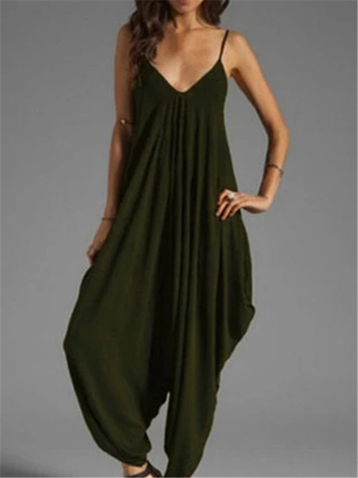 Spagetti Strap V-neck Loose Long Jumpsuits