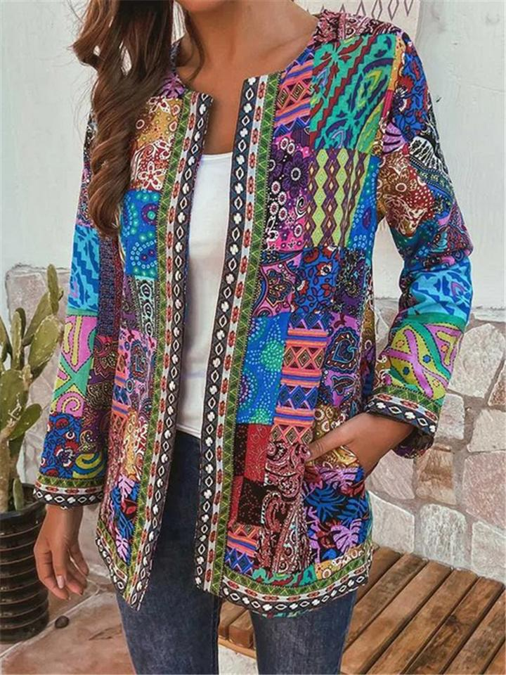 Women's Vintage Ethnic Style Floral Printed Long Sleeve Coats