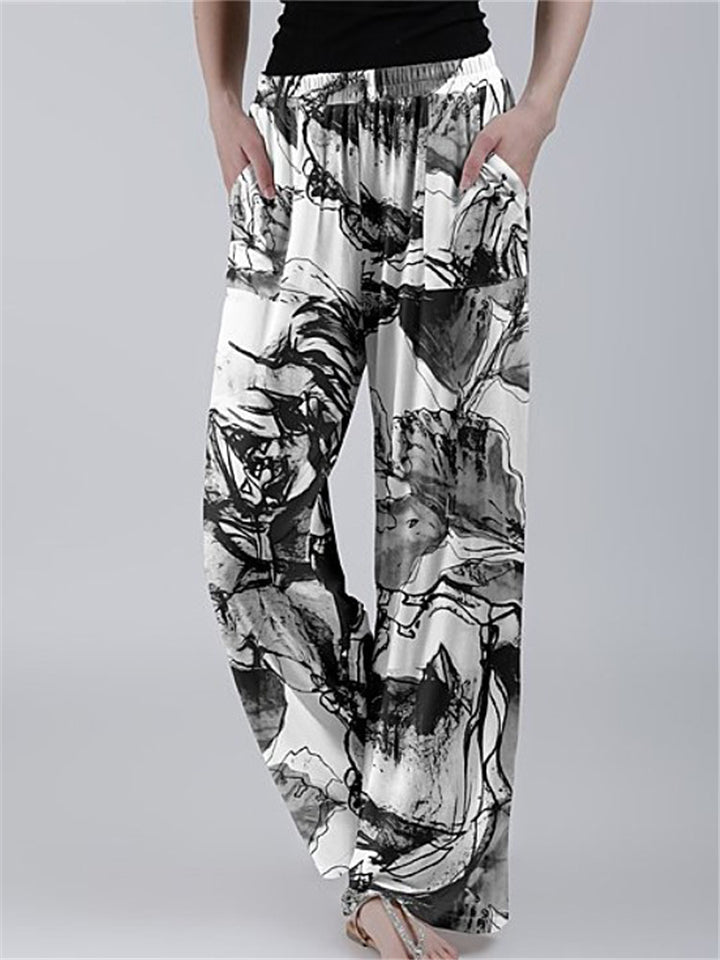 Casual Style Elastic Waist Floral Tie-Dye Pocket Wide Leg Straight Pants
