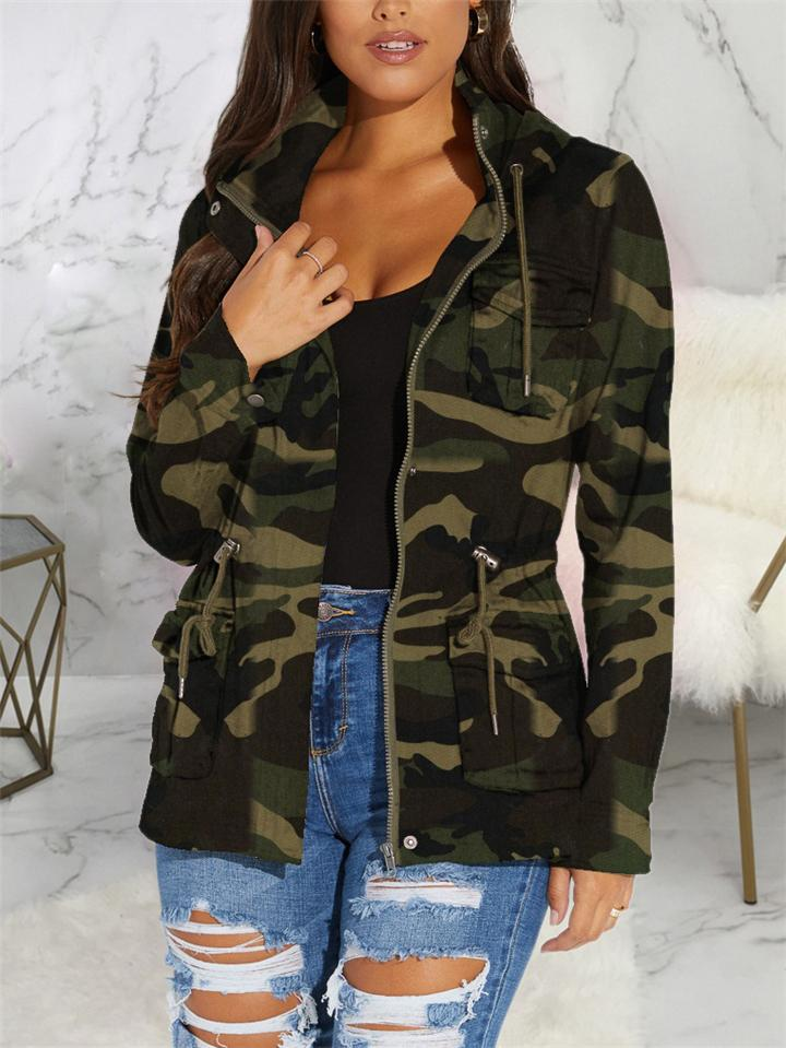 Camouflage Zipper Up Hoodie Coat With Pockets