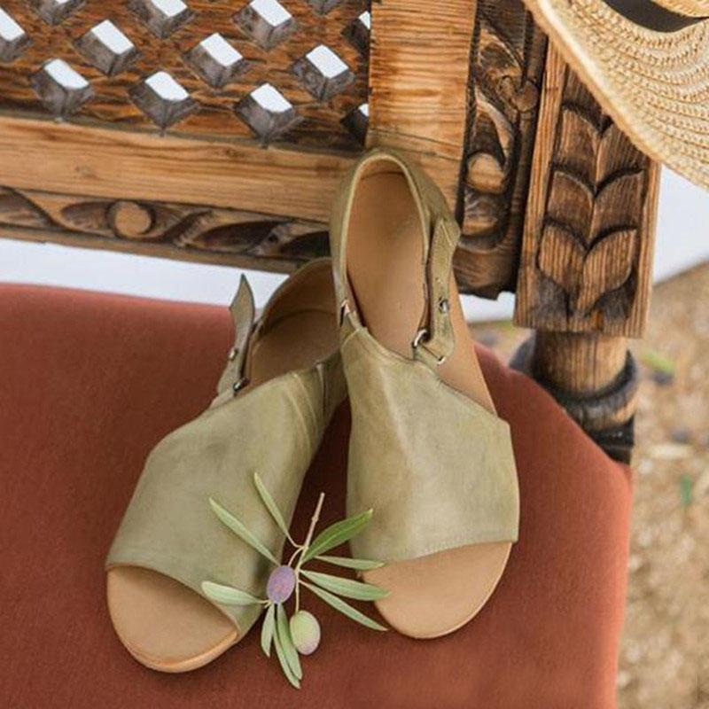Women's Vintage Style Green Color Buckle Sandals