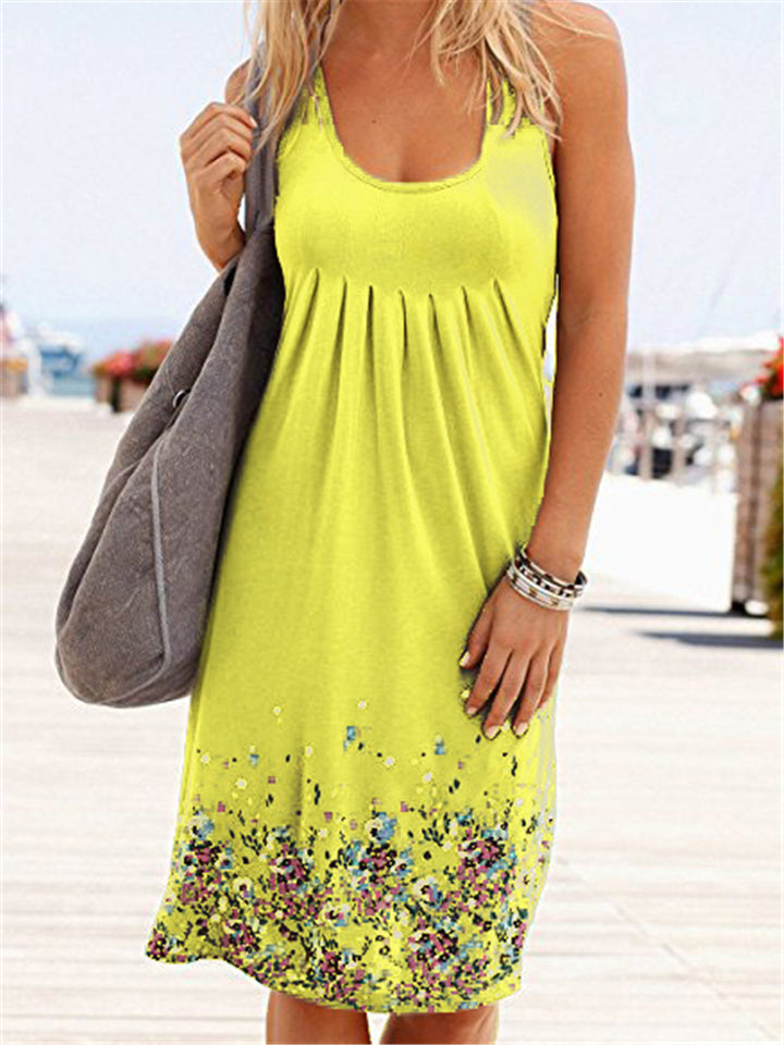 Comfy Loose Floral Print O-Neck Sleeveless Dresses