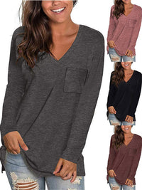 Basic Long Sleeve V-Neck T-Shirt with Chest Pocket
