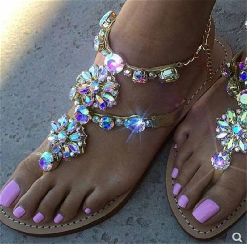 Beautiful Rhinestone Flat Sandals