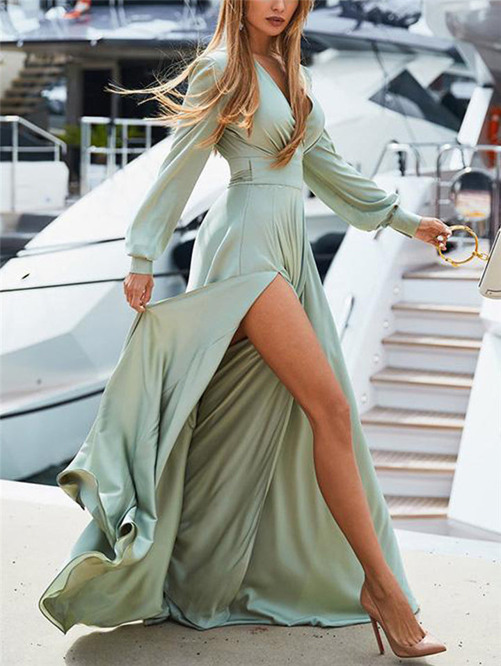 Flowing High Thigh Slit Wrap Neck Waist Tie Long Dress