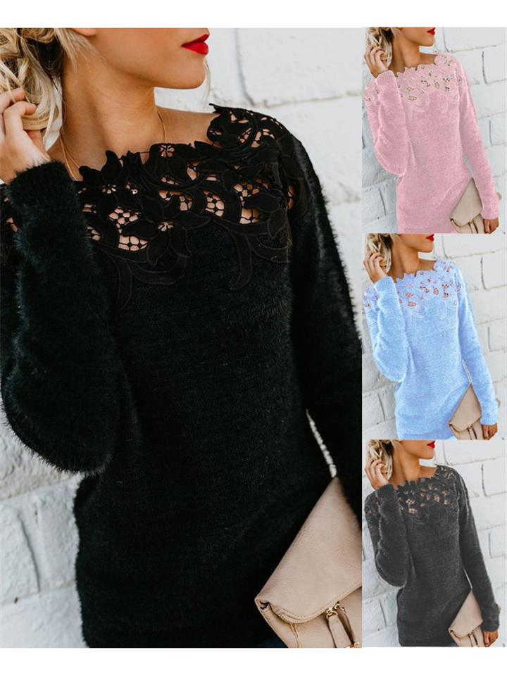 Comfy  Lace Neckline Solid Color Long Sleeve Wool Sweater