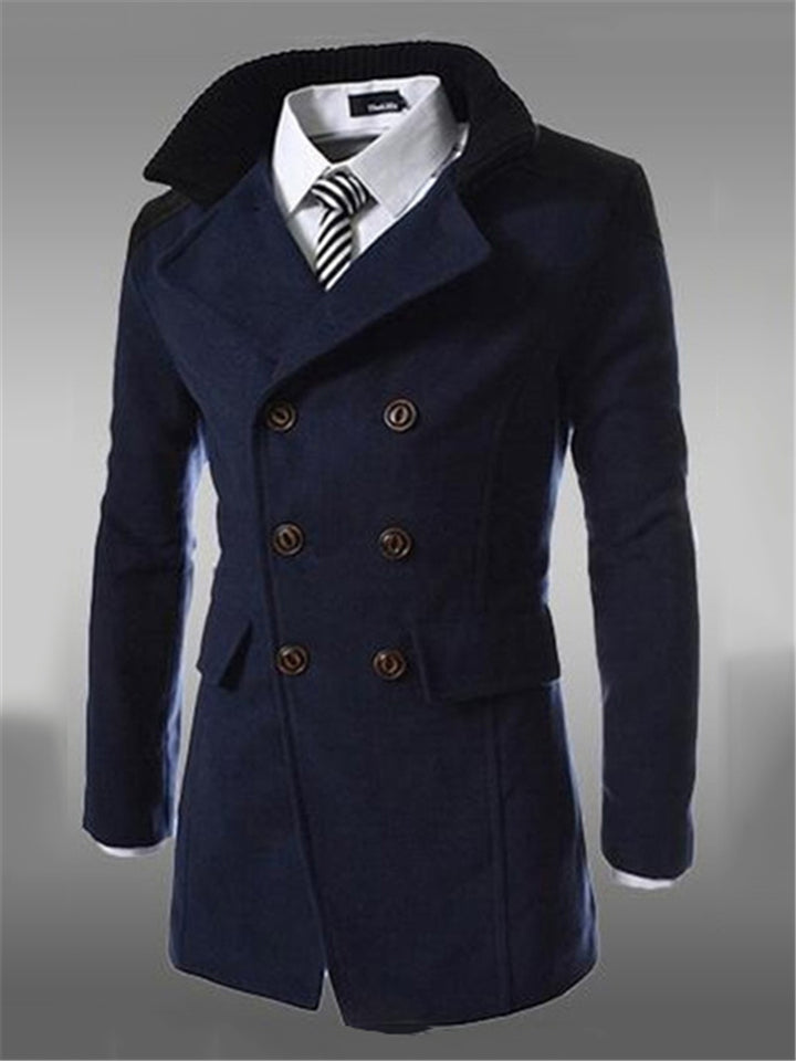 Men's Slim Fit Double Breasted Flap Pocket Notched Collar Coat