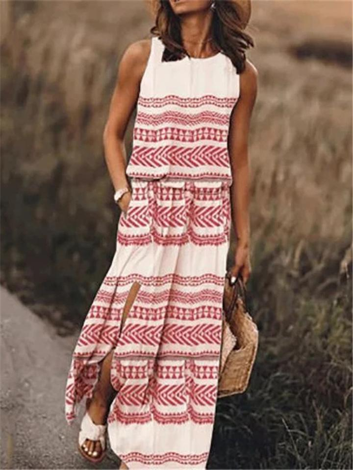 Summer Sleeveless Printed Maxi Dresses