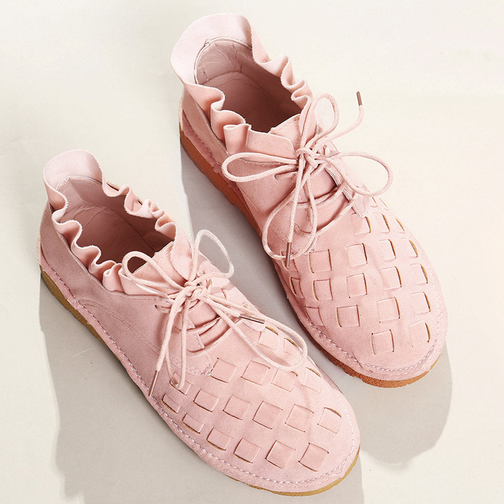Women's Comfy Suede Braided Scallop Strappy Flat Casual Shoes