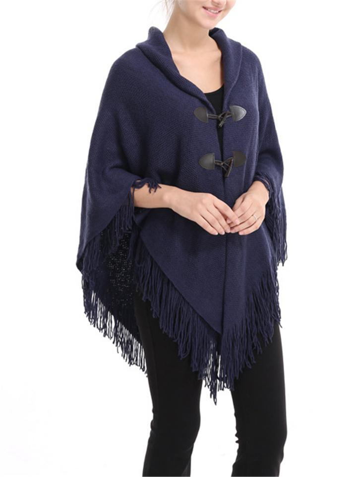 Warm Solid Color Tassel Warp Knitted Horn Buttons Shawl