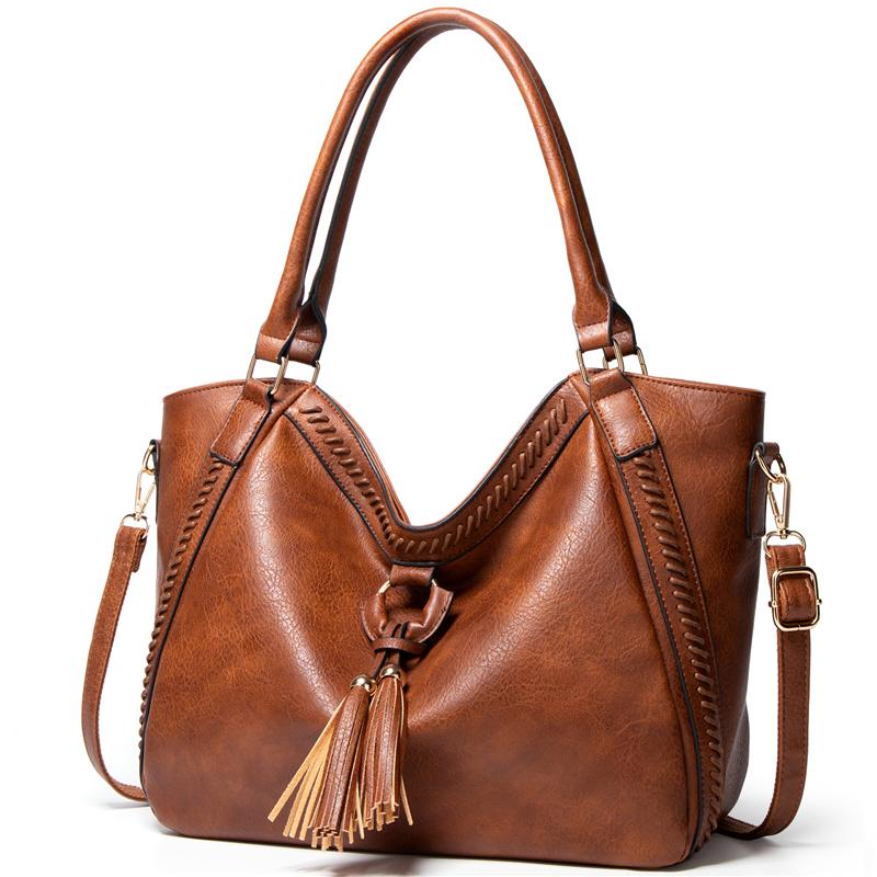 Elegant Trendy Tassel Ornament Large Capacity Soft Leather Tote Bag Shoulder Bag