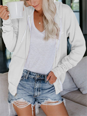 Casual Zipper Up Hoodie Sweatshirts With Draw Cord