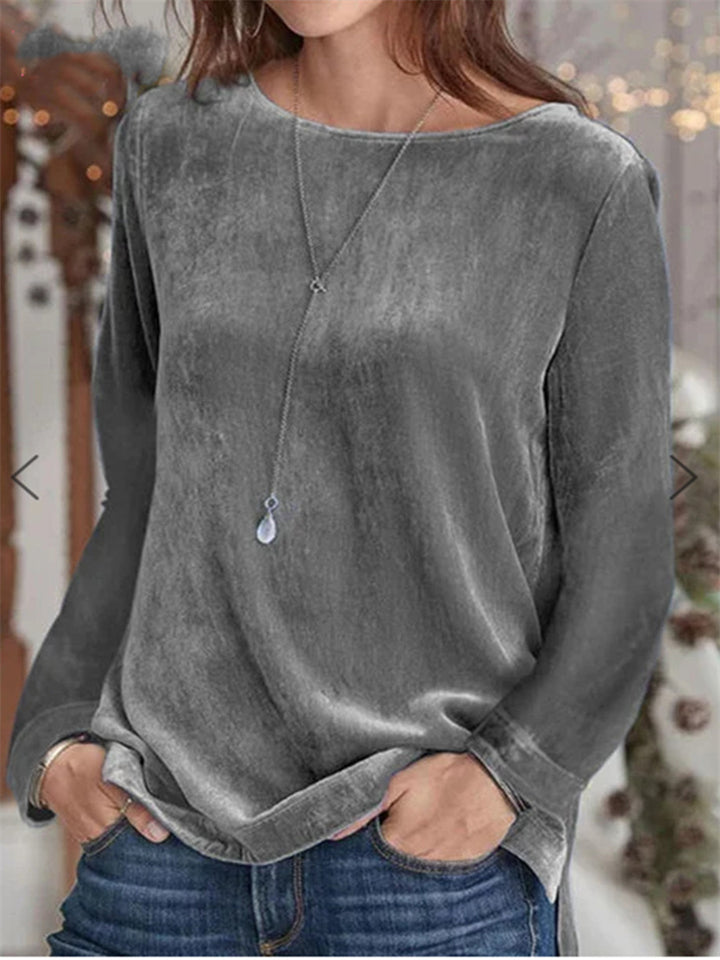 Comfortable Round Neck Solid Color Velvet Pullover Sweatshirt