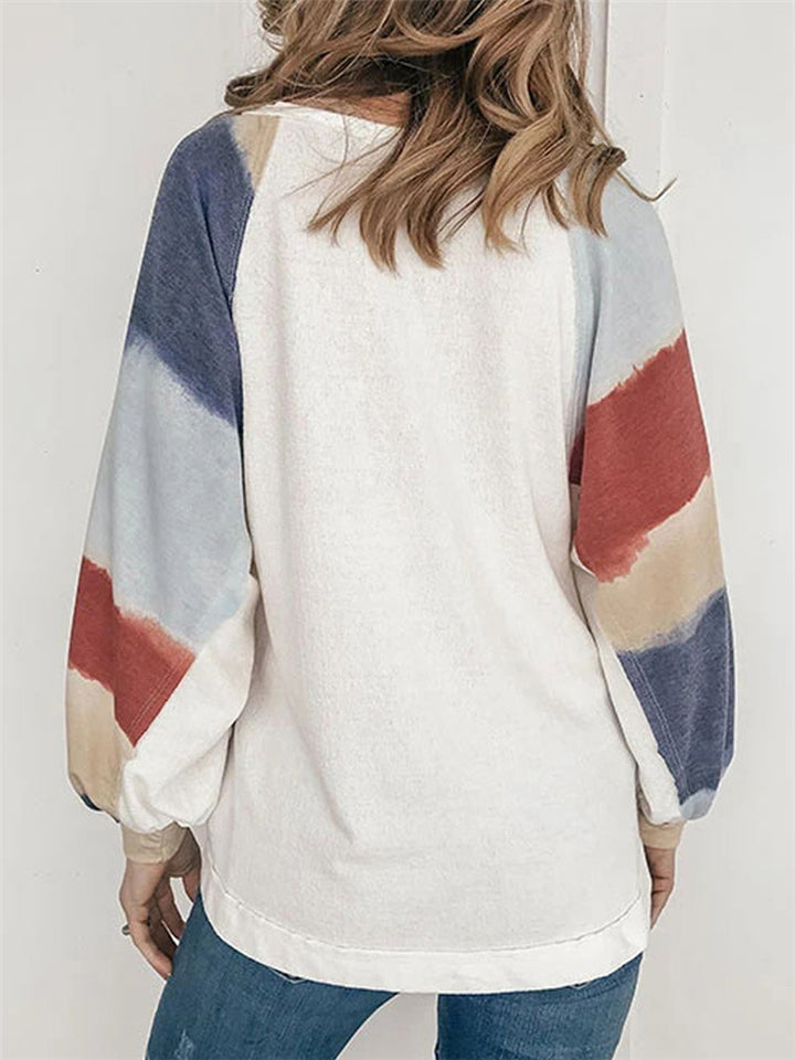 Loose Fit Round Neck Contrasting Balloon Long Sleeve Pullover Tops