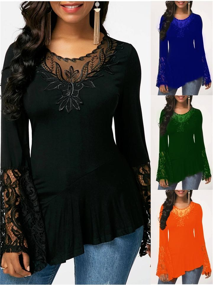 Women's Slim Fit Asymmetric Hem Lace Shirt