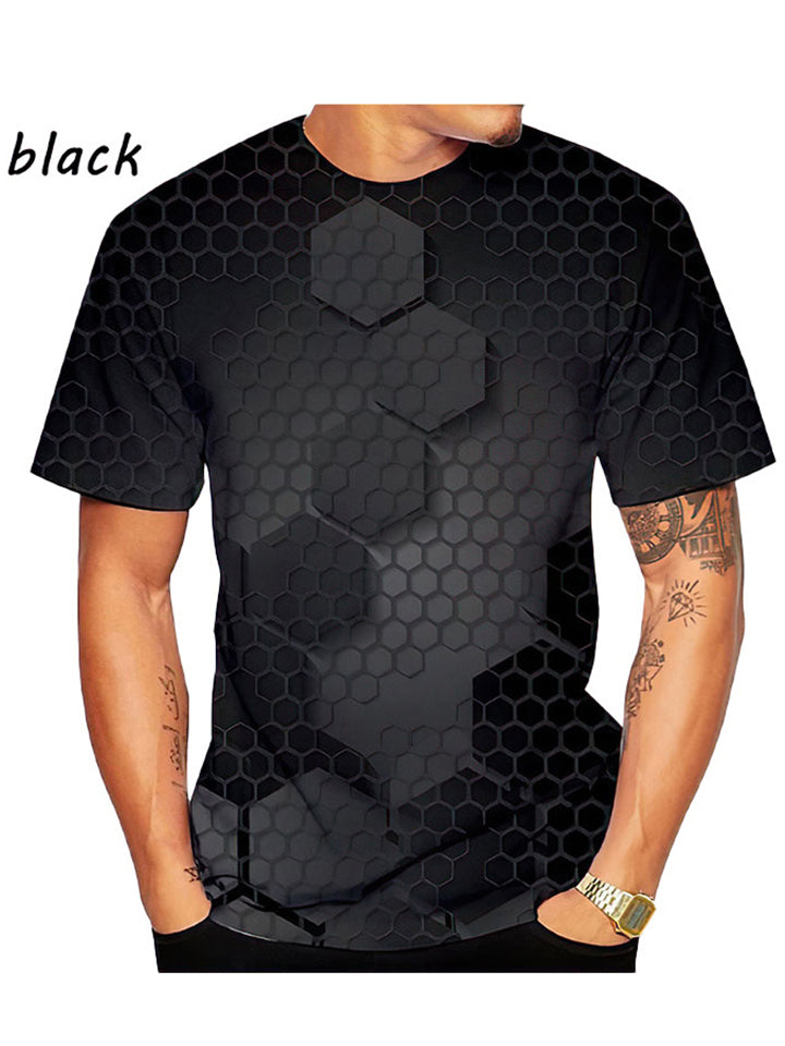 Men's Comfy Casual Printed Short Sleeves Cotton T-Shirt