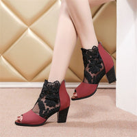 Lace Mesh Insert Chunky Heeled Boots