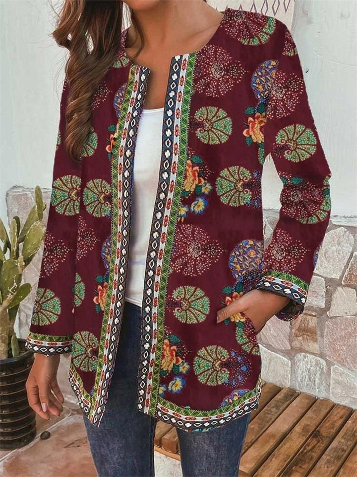 Plus Size Ethnic Style Round Neck Long Sleeve Floral Print Jackets