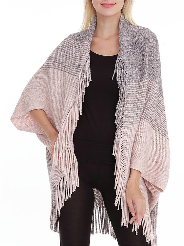 New Stylish Patchwork Tassel Knitted Loose Shawl Cardigan For Women