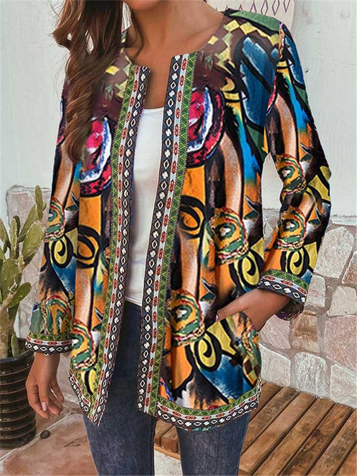 Women's Vintage Plus Size Ethnic Webbing Jackets with Pockets