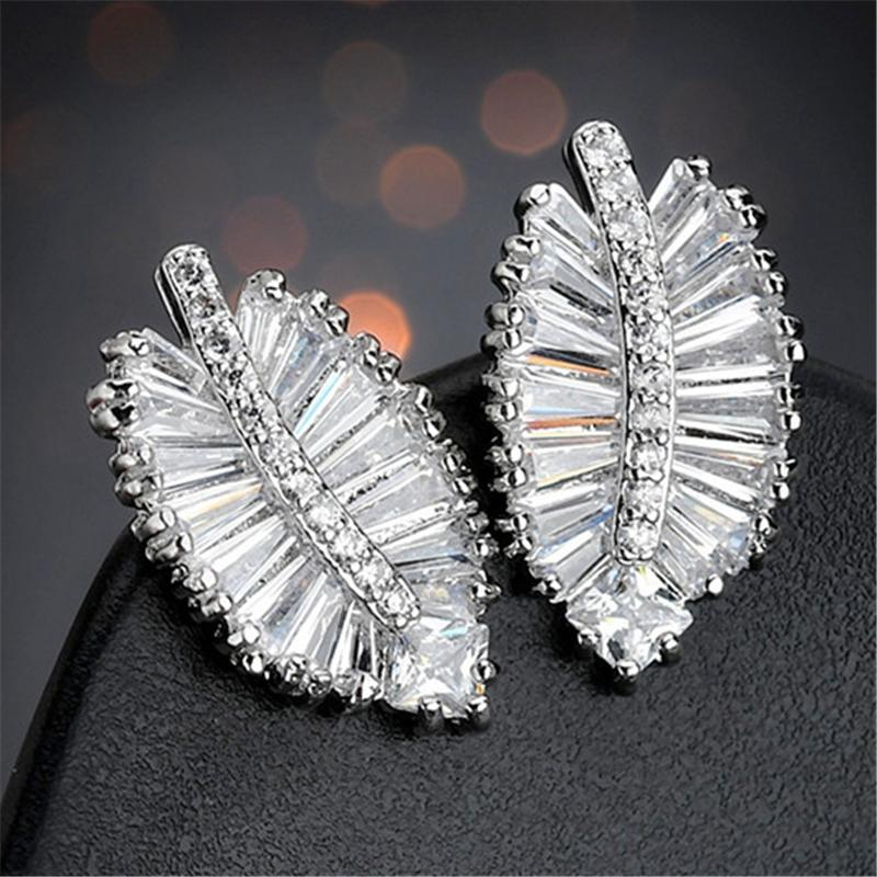 Trendy Leaf Zircon Silver Stud Earrings