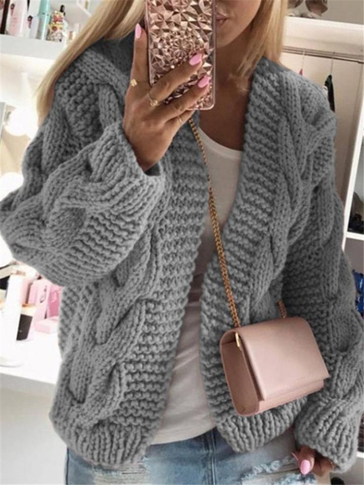 Women's Autumn Winter Solid Colored Long Sleeve Cardigan Sweater