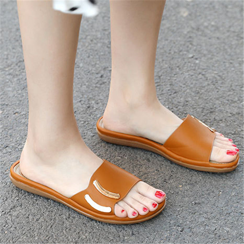 Soft Touch Lightweight Non-Slip Open-Toe Contrasting Flat Slippers