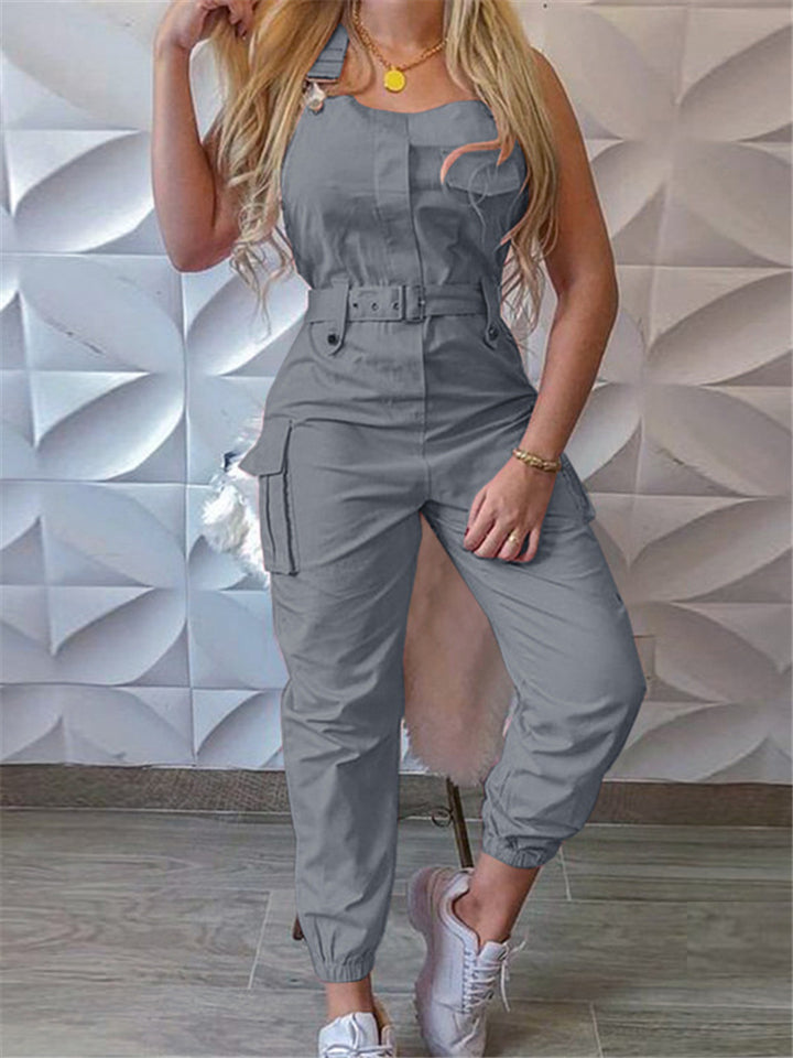 High Waist Cuffed Ankle Cargo Jumpsuit With Belt