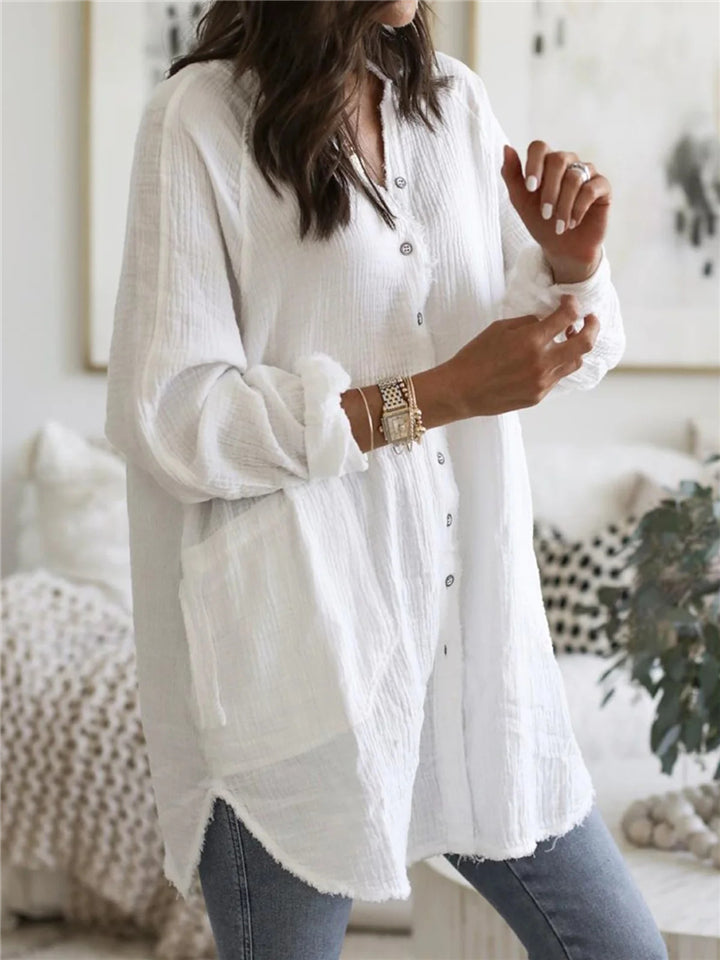 Baggy V Neck Solid Color Button Up Long Sleeve Midi Length Blouse